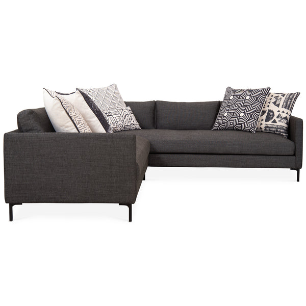 Slim Jim Sectional In Charcoal Linen - ModShop1.com