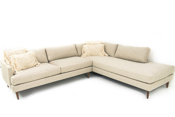 Slim Jim Sectional in Honey Linen - ModShop1.com