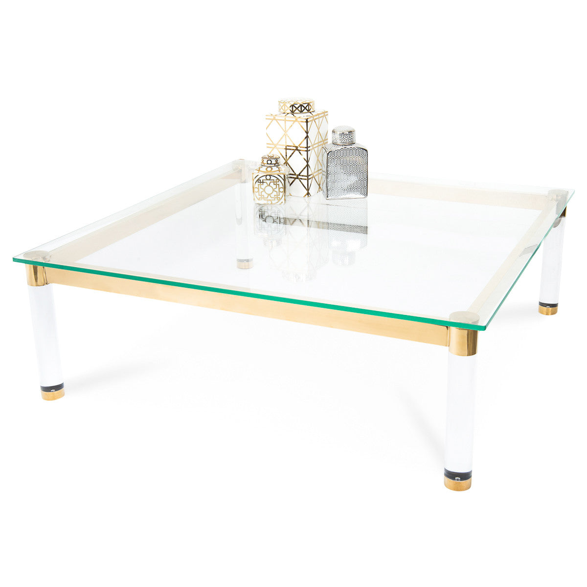 modern brass and lucite coffee table | modshop - modshop