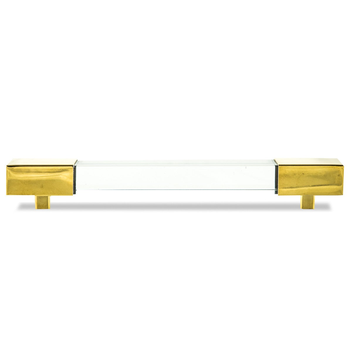 Square Lucite and Brass or Chrome Bar Pull set of 2 - ModShop1.com
