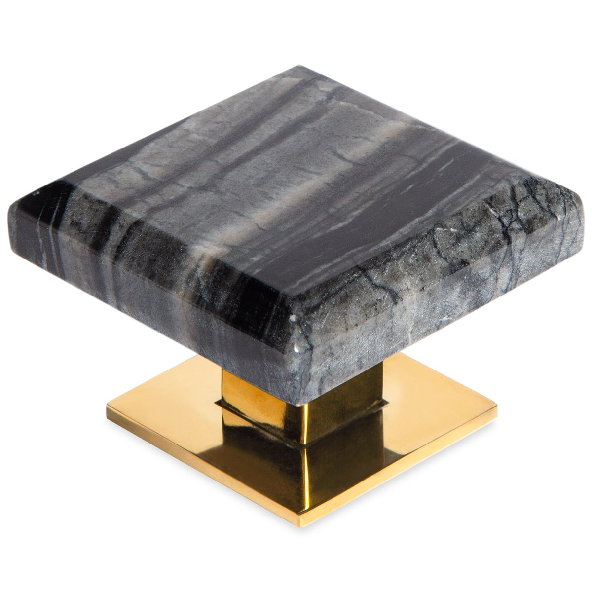 "2.5"" Square Nightfall Thin Marble Knob Pull"