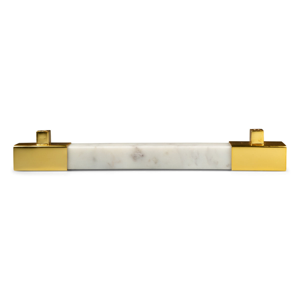 Square White Marble with Brass Bar Pull