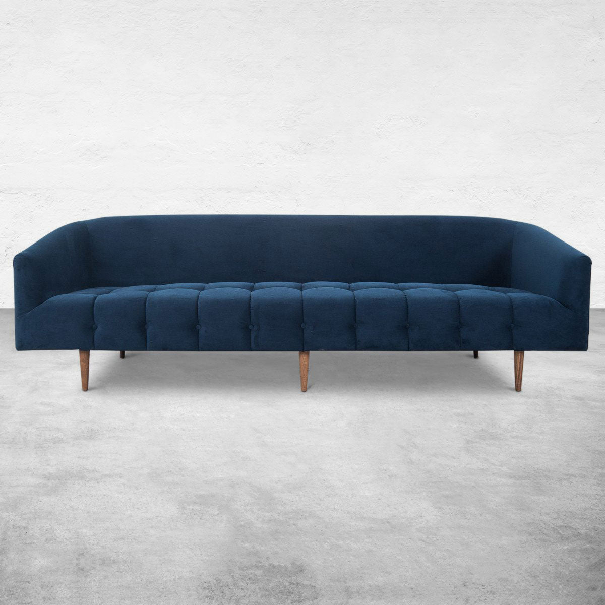 St. Barts Sofa with Biscuit Tufting in Velvet