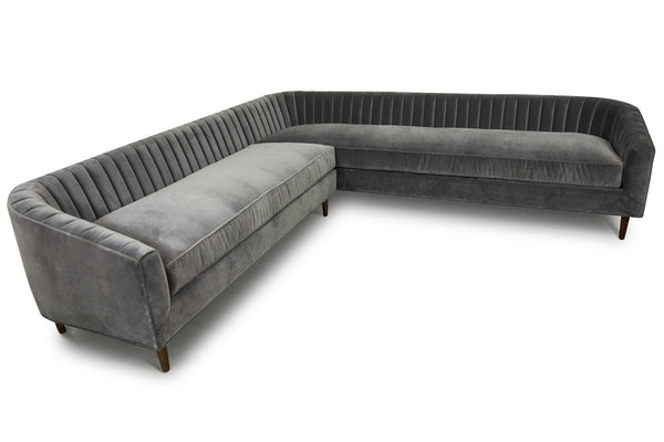 St. Barts Sectional in Charcoal Velvet - ModShop1.com