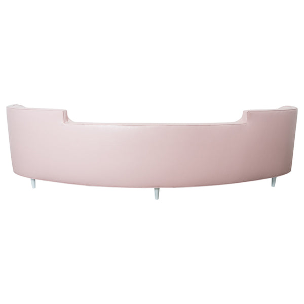 St. Tropez Curved Sofa in Blush Pink Faux Leather - ModShop1.com