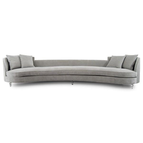 St Tropez Curved Sofa in Charcoal Velvet