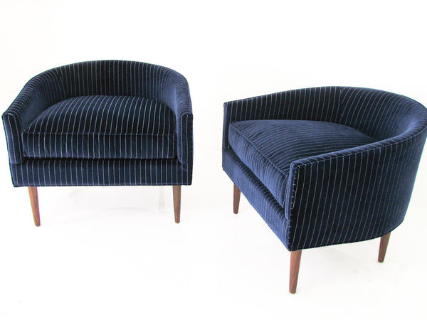 St. Barts Chair in Pinstriped Navy Velvet