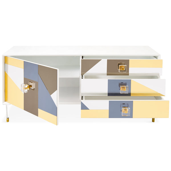 Studio 54 - 1 Door 3 Drawer Mirrored Credenza - ModShop1.com