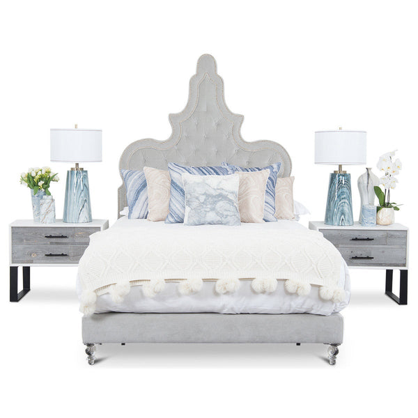 Tangier Bed in Grey Velvet
