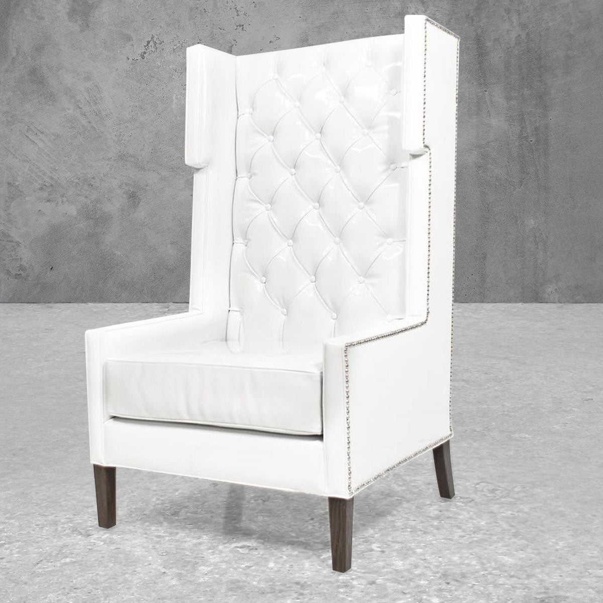 Tangier Wing Chair In Splash White Faux Leather