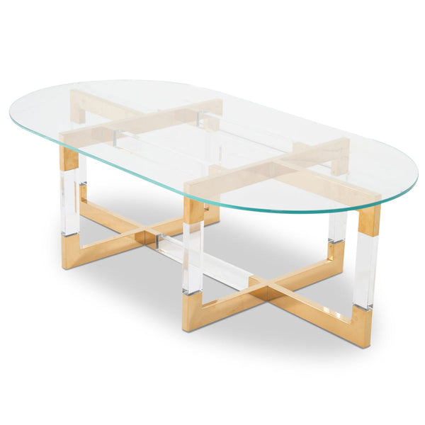 Trousdale 2 Coffee Table with Oval Glass Top