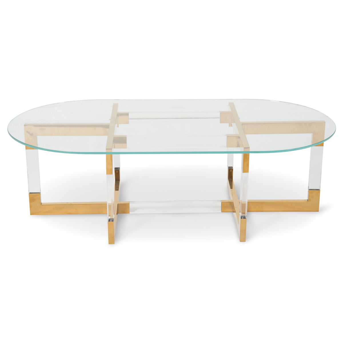 Trousdale 2 Coffee Table with Oval Glass Top - ModShop1.com