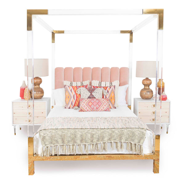 Trousdale Four Poster Lucite Bed with Blush Headboard
