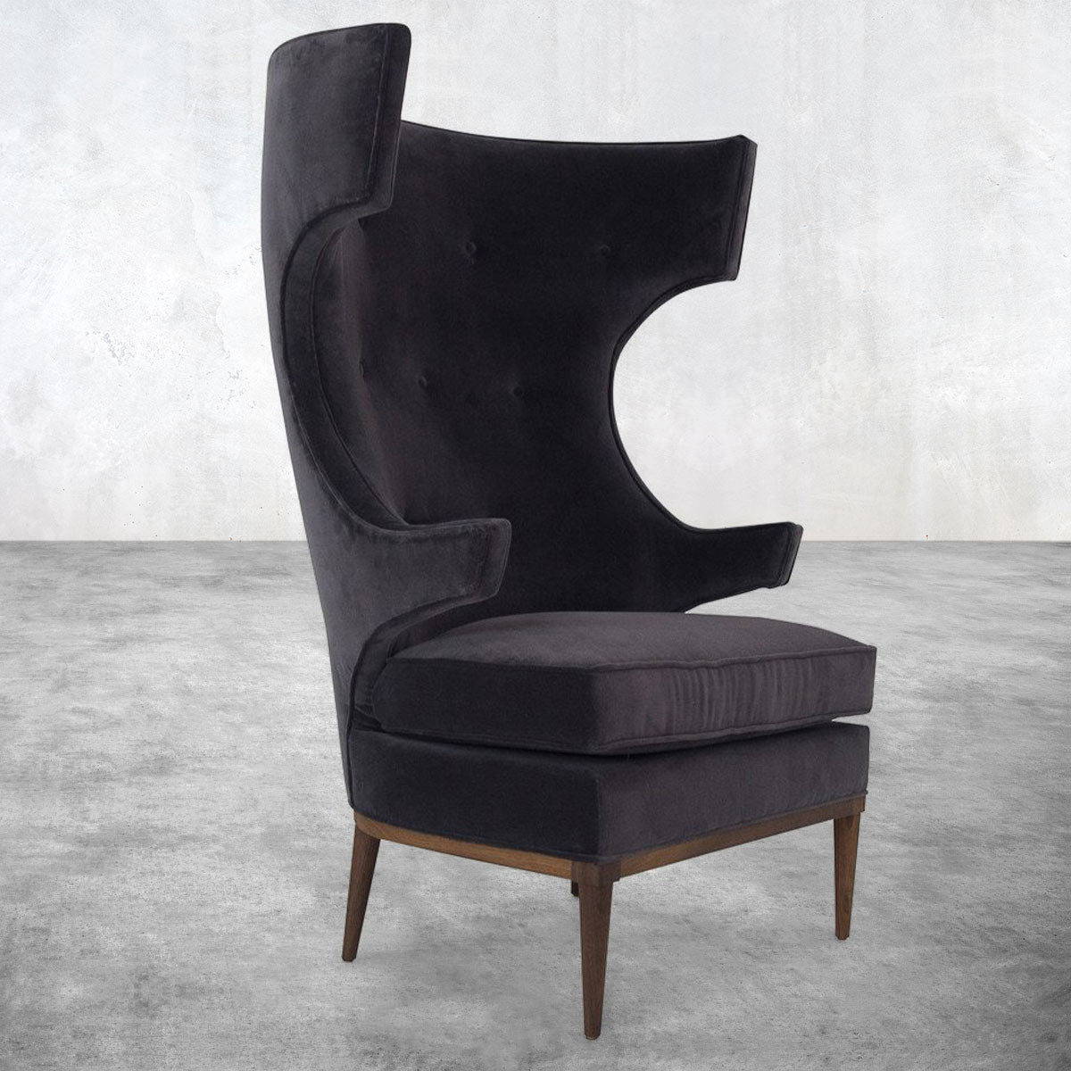 Trousdale Wing Chair in Boulevard Graphite Velvet