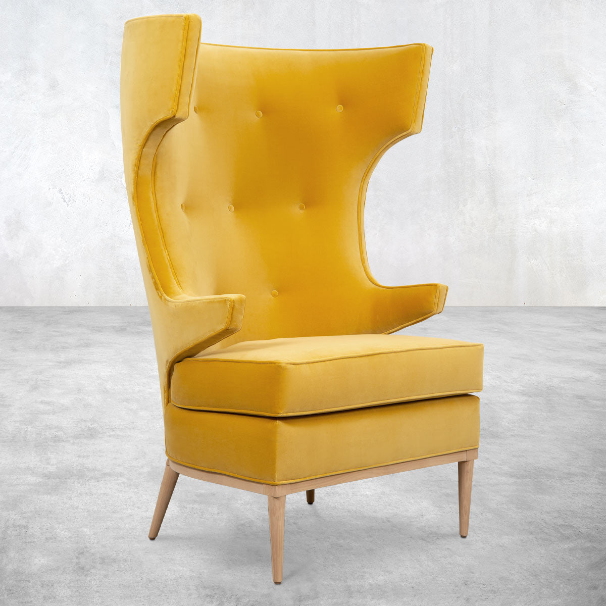 Trousdale Wing Chair in Mustard Velvet