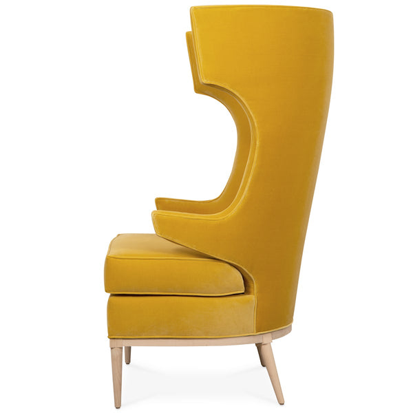 Trousdale Wing Chair in Mustard Velvet - ModShop1.com
