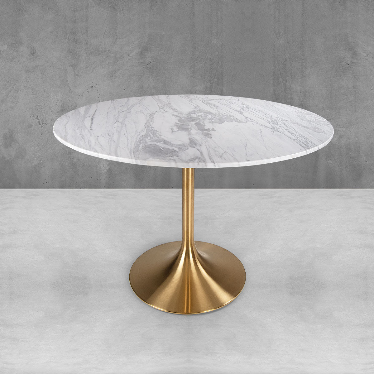 Round Marble Tulip In Brushed Brass Dining Table Modshop