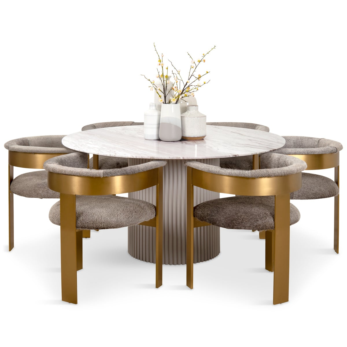 Ubud Marble Top Dining Table Round Modshop