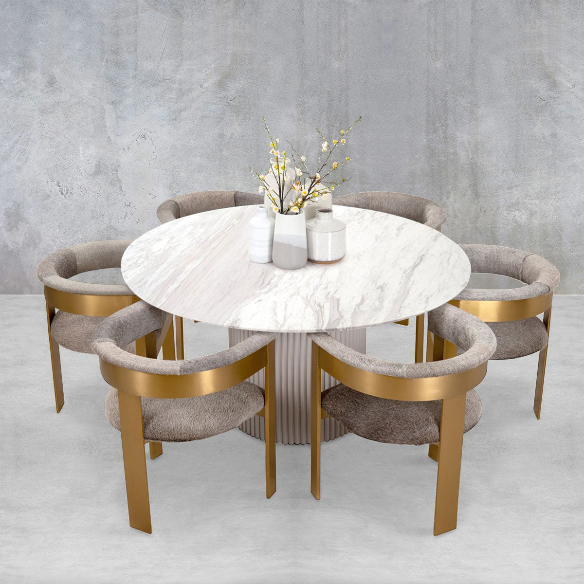 Picture of: Ubud Marble Top Dining Table Round Modshop