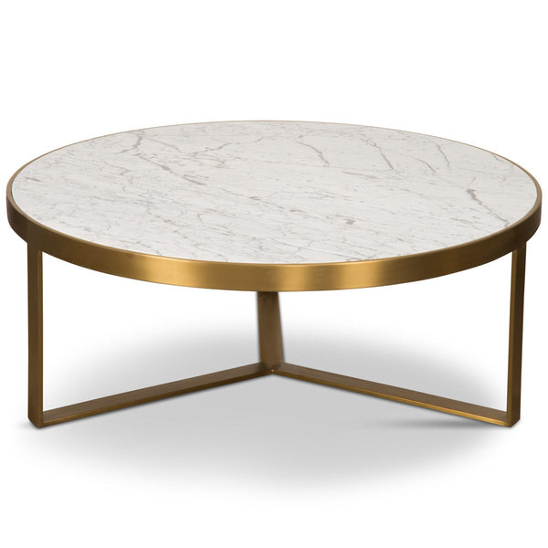 Upper East Side Coffee Table in Brushed Brass with Carrara Stone - ModShop1.com