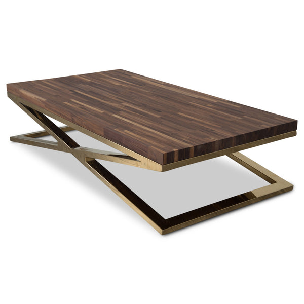Coffee Table Legs Brass: X-Leg Coffee Table With Solid Walnut Top