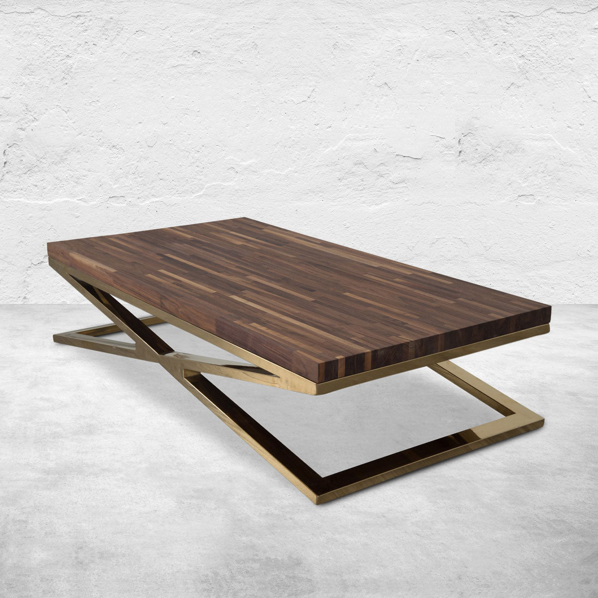 X-Leg Coffee Table with Solid Walnut Top