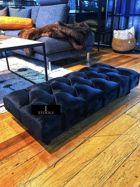 Black Velvet Upholstered Ottoman Footstool - Ripple Interior
