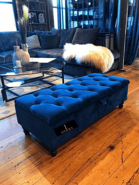 Blue Upholstered Ottoman Storage -Ripple Interior
