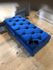 Blue Upholstered Ottoman Storage - Ripple Interior