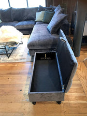 Steel Grey Upholstered Ottoman Storage Bench