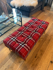 Red Black Tartan upholstered footstool