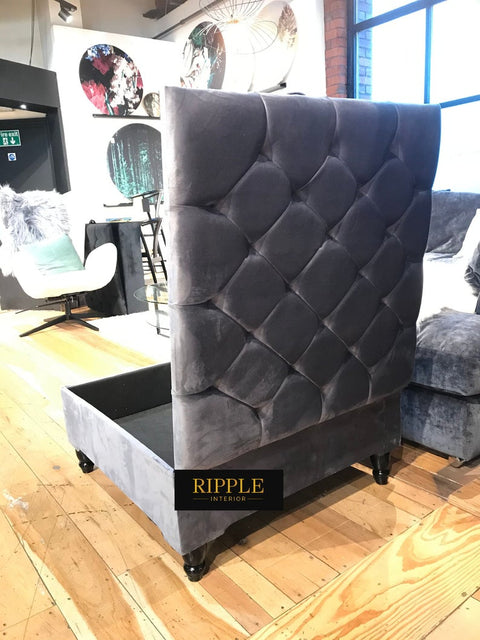 Steel Grey Square Upholstered Ottoman Storage Bench