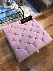 Pink Square Upholstered Ottoman Storage Bench