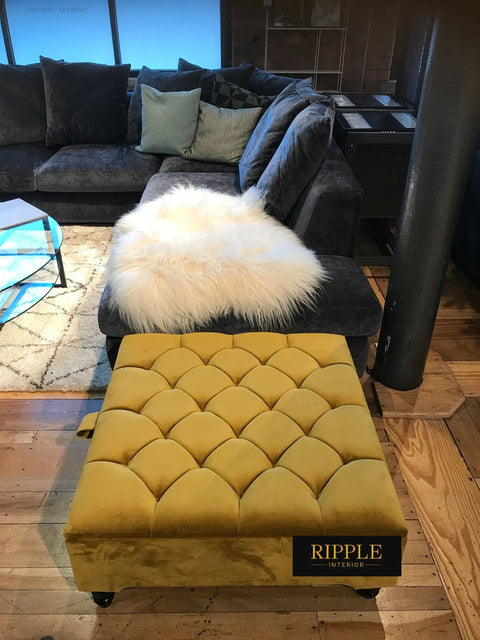 Gold Square Upholstered Ottoman Storage Bench