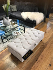 White Upholstered Ottoman Storage Seat