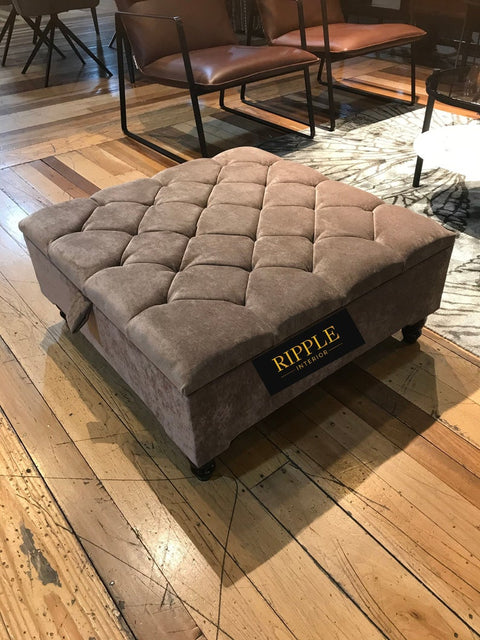 Brown Square Upholstered Ottoman Storage Stool