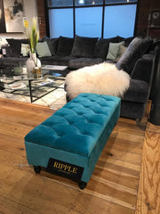 Teal Upholstered Ottoman Storage Bench