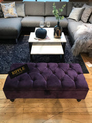 Purple Upholstered Ottoman Storage Bench