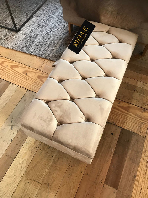 Beige Upholstered Ottoman Bench