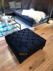 Black Square Upholstered Ottoman Storage Stool