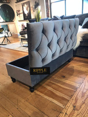 Grey Upholstered Ottoman Storage Bench