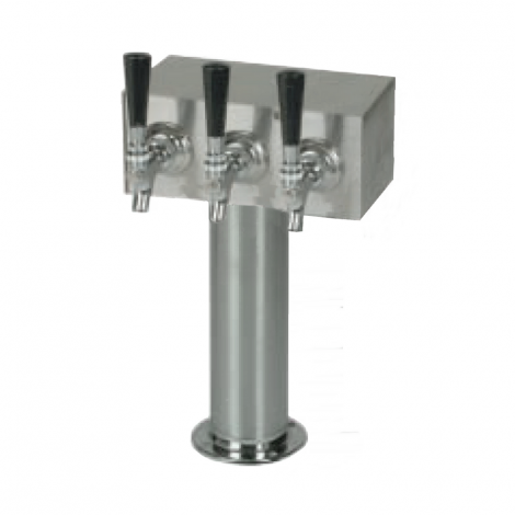 "T-Tower with 3"" Post and 3 Faucets (All Stainless Steel)"