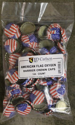 American Flag Crown Bottle Caps 144ct