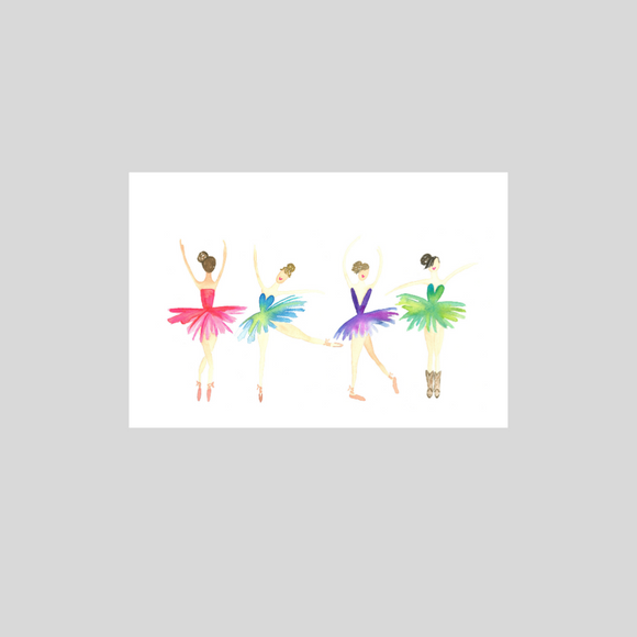 Card -  Four Ballerinas