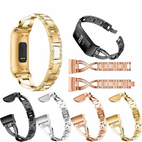 The stainless steel Fitbit Charge 3 replacement band is available in Gold, Silver, Black and Rose Gold.