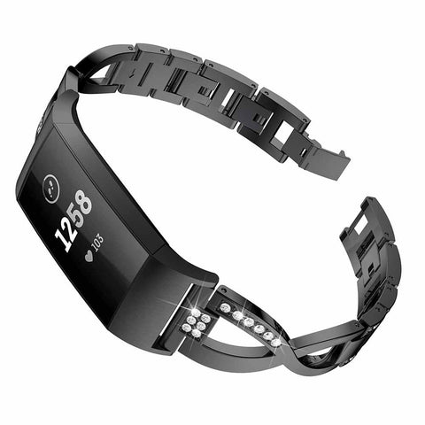 Black stainless steel replacement band with Fitbit Charge 3