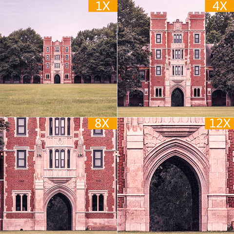 Comparison of different zoom levels available with the Universal 8x-12x Zoom Telescope Telephoto Lens for Smartphones and tablets