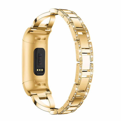 Rear view of Gold Fitbit Charge 3 in Gold replacement band