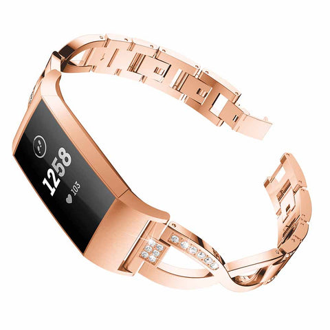 Rose Gold stainless steel replacement band with Fitbit Charge 3