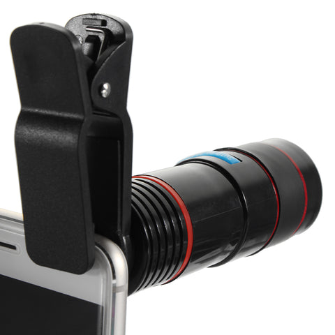 Universal 8x - 12x Zoom Telephoto Lens clipped on to a smartphone